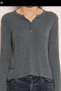 Brandy Melville Grey Long Sleeve Button Top