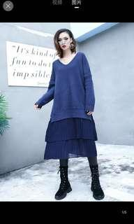 Big Size Knitted Dress - Navy Blue
