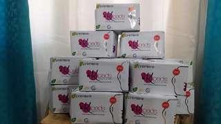 K-pads napkin day(10pcs/pck) and night(8pcs/pck), pantyline (30pcs/pck). With FREE VAGINAL HEALTH SELF TEST CARD