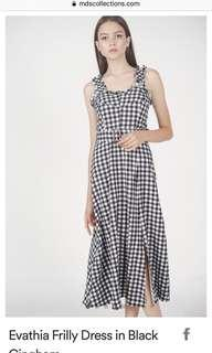 MDS Evathia frilly dress in black gingham
