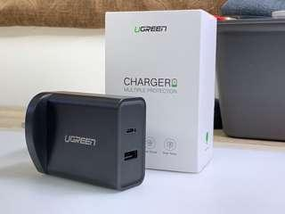 UGREEN 30W PD 5V/2.4A and 18W type C Fast Charger (3 Pin UK)