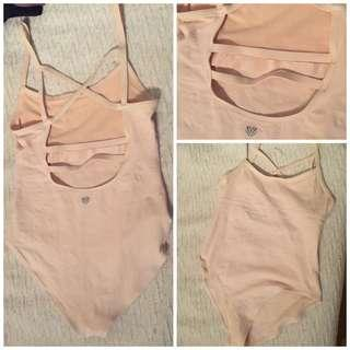 Nude Pink Cage Stretch Bodysuit - Large