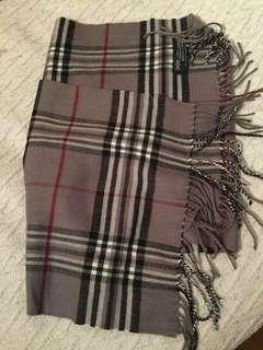 100% Cashmere Red and Grey Plaid Scarf