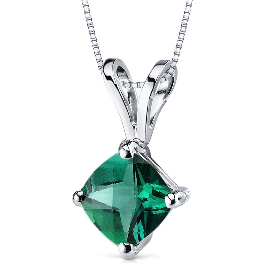 0.75ct Emerald Pendant 14K White Gold,  Lab Created,  Cushion 6 x 6mm