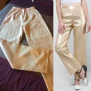 REDUCED! AERE Tilia Sequinned Pants in Gold
