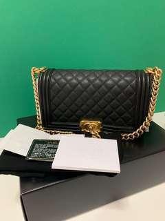 $5400(last price) 💯 Authentic Chanel Boy Old Medium black caviar in gold hardware Series #23(2017)
