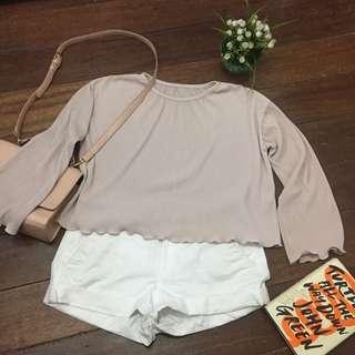 Nude Pink Hanging Belle Sleeves top