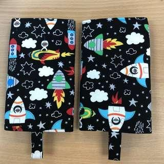 Reversible drool pad, handmade with love rocket in space and classic stars for tula ergo manduca lillebaby etc, ftg baby carrier protector