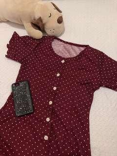 Red / Maroon button-down dress (polka dots)