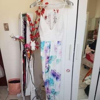 Floral watercolour dress sz8