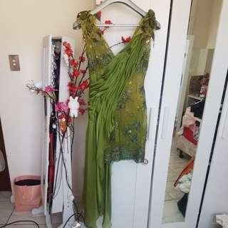 Green mesh sash dress S