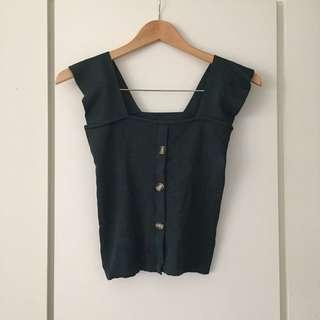 Size 6-8 dark green knit top