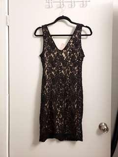 Saks on 5th Ave Sequin Black Lace Slip On Dress
