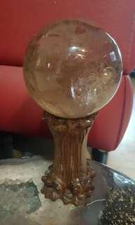 85mm smoky quartz crystal ball wif base. 茶晶水晶球带底座
