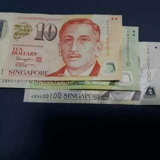 🚚 Singapore Notes with the same number