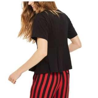topshop 黑色圓領短袖上衣 傘狀收腰設計 black t-shirt