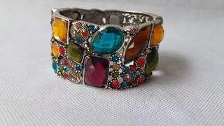 Woman colourful crystal stone silver bracelet bangle clasp