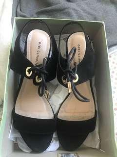7 Size Black Heels with Golden Lace Tips