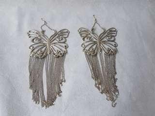 HUGE woman butterfly silver dangling earrings