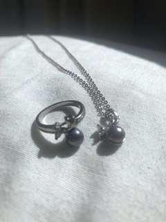 Deep Purple Cultured Pearl and Silver Set