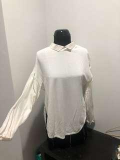 Zara knit white blouse