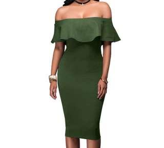 cotton on army green off shoulder bodycon dress