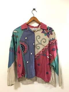 Vintage patchwork embroidery shirt