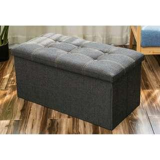 Black Jean fabric storage box/ stool