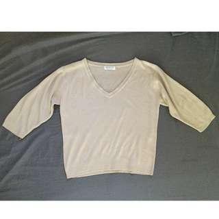 Cream Ribbed Crop-top Sweater