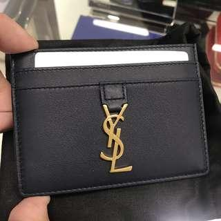YSL Saint Laurent Dark Blue Leather Cardholder Wallet 100% AUTHENTI+BRAND NEW! #423480