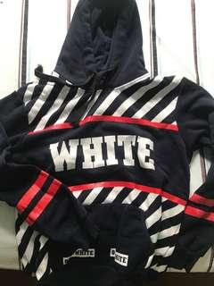 Inspired Off White Hoodie in Navy white red
