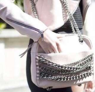 Authentic Zara Woman Light Pink Leather Chain Bag