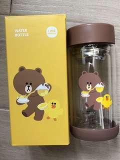 [全新包郵]Line Friends Brown 熊大玻璃水瓶