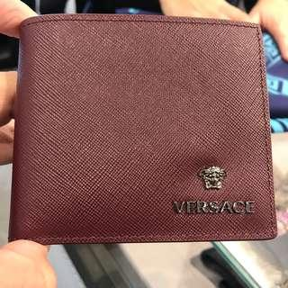 VERSACE Men's Dark Red Saffiano Leather Wallet 100% AUTHENTIC+BRAND NEW!
