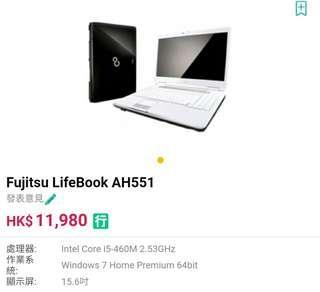 Notebook i5 @6GB RAM 500GB HHD made in Japan罕有 曰本製Fujitsu