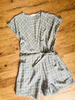 Plaid romper shorts