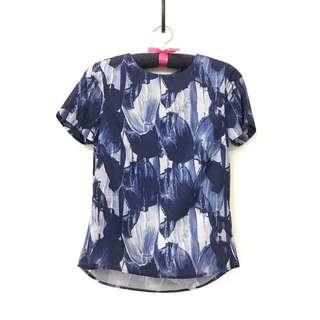 H&M Blue Abstract Blouse
