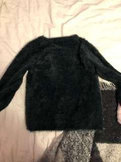 Small Black Cropped Furry Long Sleeve