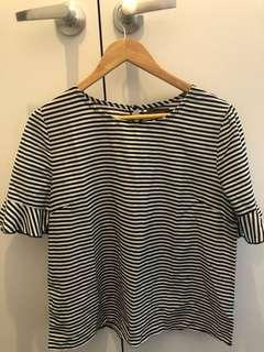 Blue and White Stripped Mirrou Top