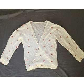 Crepe Cream top with Flower print