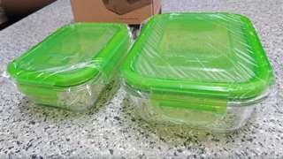 全新1套 2件 美國康寧密扣 Snapware Pyrex Eco Pure 長方形 玻璃保鮮密封盒 (345ml+655ml)