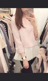 韓國 ~ Simple 買原價 $298元  粉紅色拼白色百摺下擺中袖上衣番工 Pink Top