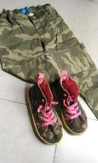 Sepatu Anak Carter + Celana Panjang Old Navy Army Look for girl
