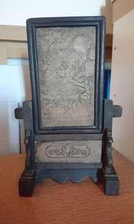 Vintage Wood Frame Stand with Cherry Blossom Carving on Stone Panel