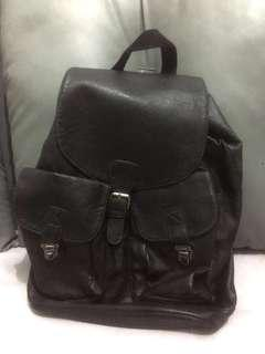 TOPMAN Faux Leather Black Backpack
