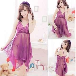 Lingerie babydoll ungu bahan lace Freesize (S-L)