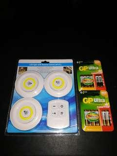 🚚 1 brand new set of 3 x LED light with remote control and batteries with free delivery