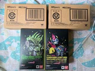 中古 SHF 幪面超人 Kamen Rider Ex aid Cronus Lazer Turbo Bike Gamer Level 0