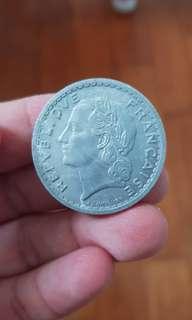 🚚 1945 France 5 Francs Coin