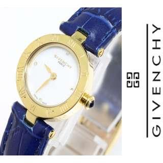 GIVENCHY VINTAGE LADIES' WATCH BLUE LEATHER STRAP